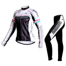 SOBIKE Fleece Thermal Women's Cycling Suits Long Jersey & Pants-Britney White