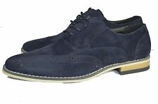 NEW NAVY BLUE SUEDE MEN LACE UP BROGUES FASHION SHOES NEW IN BOXUK6-12
