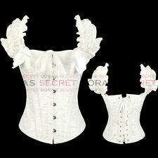 NEW SEXY WHITE FULL STEEL BONES LACE UP CORSET TOP BUSTIER WITH THONG S-XXL