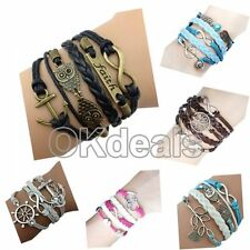 New Style Fashion Leather Cute Infinity Charm Bracelet Silver Lots Style Pick