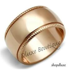 Women's Rose Gold Plated 11mm Wide Ribbed Fashion Wedding Band Ring Size 5-10
