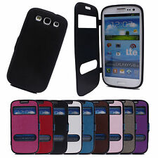 Smart Dual View Window Leather Flip Cap Cover Case for Samsung Galaxy S3 i9300