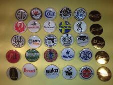 GOLD PLATED SHOOTING/GUN BADGES: COLT, BERETTA. SMITH & WESSON. PERAZZI + MORE