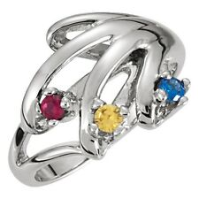 Mother's Jewelry Sterling Silver 2-6 Round Birthstones Mothers Ring, Moms gift
