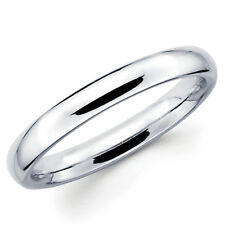 14K Solid White Gold 3mm Comfort Fit Men's and Women's Wedding Band Ring