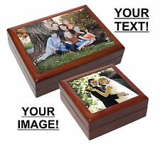 Personalised, printed, ceramic tile Keepsake Box - Your image and text printed!