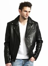 mens black lambskin leather biker jacket, fashion, soft genuine lamb