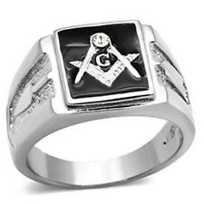 Solid Back Square Face 316 Stainless Steel Masonic Men's Onyx Ring Size 8-13
