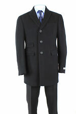 DKNY Dennison Dress Men's Coat Cashmere Wool Overcoat DSONO4PU0001 Solid Black