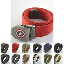 Military Captain America Stainless Steel Buckle Men Webbing Waist Canvas Belt