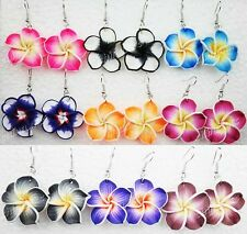 6pairs Mix Polymer Clay Lucky Fimo Flower Drop Earrings Wholesale Jewelry Lots