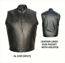 Mens Hidden Snap Gun Pocket Split Cowhide Leather Vest AL 2225 Allstate Leather
