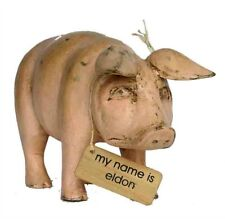 Handcarved Wooden Pink Pig (large) shabby chic can be personalised / gift