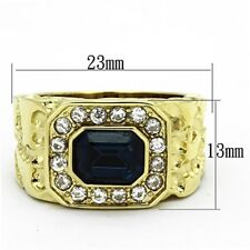 Gold IP Stainless Steel Tarnish Free Simulated Sapphire Mens Ring Size 8-13