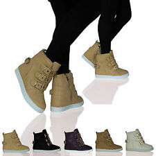 D8E Womens Ladies Hidden Wedge High Top Trainer Pumps Buckle Casual Shoes Size
