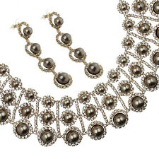 Janeo Swarovski Crystal Elements Pearls Set Necklace Earrings Christmas Gift Her