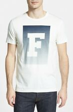 FRENCH CONNECTION FCUK MEN'S  F LOGO PRINT WHITE CREWNECK  SLIM TEE T - SHIRT