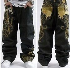 Graffiti embroidery Cool Men's Hip Hop Jeans Casual Pants Size 32-42 PA5
