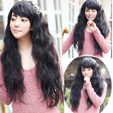 fashion sexy curly wavy full wigs womens long brown hair wig cosplay party wig