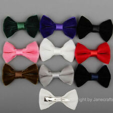 "9/30pcs 2.5"" Boutique Girls Velvet Ribbon Hair Bows Bowtie Clip Mixed 9 Colors"