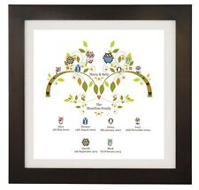 Personalised Name Family Tree, Owl, Picture, Wall Art Print, Gift, Word Art 3