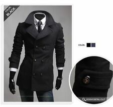 New Men's Collection Winter 2014 Long Jacket Double Breast Trench Coat SR706