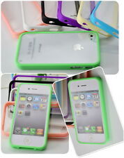 Fashion Soft TPU Bumper Frame with Hard Matte Case Cover Skin for iPhone 4 4S