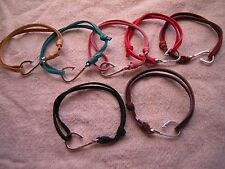 Silver Fish Hook Adjustable Hand Crafted Deer Hide Leather Bracelet Pick Color
