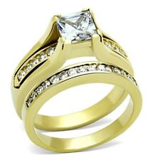 Gold IP Princess Cut CZ Stainless Steel Wedding/Engagement 2 RINGS SET SZ 5-10