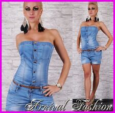 NEW strapless JEANS JUMPSUIT with BELT LADIES DENIM SHORTS SHORT overall PANTS