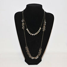 Stunning Necklace multi layered 2 loops Black Nickel chain & AB diamante drop