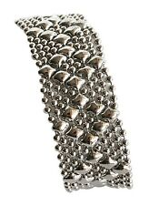 Sergio Gutierrez Liquid Metal by SG Silver Small Diamond Mesh Cuff Bracelet B4