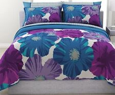Purple and Teal Floral Reversible Bed in a Bag Bedding Set