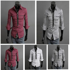 P J Men's Button Down Long Sleeve Casual Slim Fit High Quality BasicTops