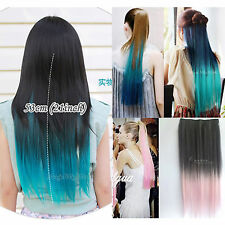Women full straight long hair extensions fashion 2colors hairpiece 5 clips-in on