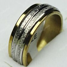 30pcs Stainless Steel Double Spin Women Mens Frosted Gold Rings Wholesale Lots
