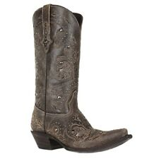 Lucchese Ladies Rustic Grey Calf Leather Studded Cowgirl Boots M5730 New