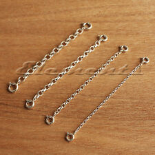 STRONG 925 STERLING SILVER NECKLACE EXTENDER SAFETY CHAIN WITH 2 BOLT CLASP