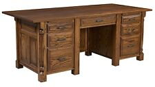Amish Executive Computer Laptop Desk Traditional Home Office Solid Wood