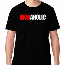 WODAHOLIC CROSSFIT WEIGHTS GYM FUNNY PROTEIN BENCH RUNNING WORKOUT TRAIN T SHIRT