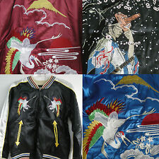 New Japan Tour Souvenir VTG Satin Sewn Embroidered Tatto Jacket Cranes Samurai L