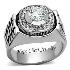 STAINLESS STEEL Round Solitaire Cubic Zirconia Men's Ring - SIZE 8 TO 13