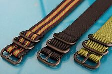 HEFTY ZULU PVD BLACK HARDWARE 3 RING MILITARY STYLE WATCH STRAPS / BANDS