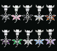 Silver Plated Rhinestone Butterfly Dangle Charm Bead Fit European Snake Bracelet