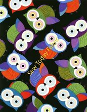 Owls on Black - Timeless Treasures - FUN-C1478-BLACK (sold by the 1/2 yard)