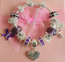 PERSONALISE LADIES/CHILDRENS/GIRLS LUXURY CHARM BRACELETS BEADS  GIFT BOXED