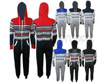 All in One Hoody Kids Onesie Aztec Boys Plain Girls Hooded Piece Cotton Jumpsuit