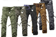 MENS CASUAL MILITARY ARMY CARGO CAMO COMBAT WORK PANTS TROUSERS 28-38