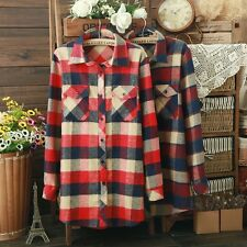 Casual Womens Classic Slim Fit Lapel Plaid Flannel Shirt Tops Blouse New