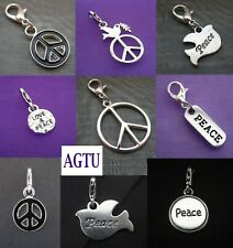YOU PICK Peace Charm Clip On Silver Peace Sign Dove Charm